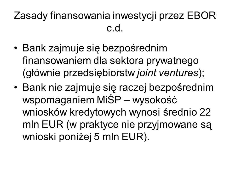 Zasady finansowania inwestycji przez EBOR c.d. Bank zajmuje się bezpośrednim finansowaniem dla sektora prywatnego (głównie przedsiębiorstw joint ventu