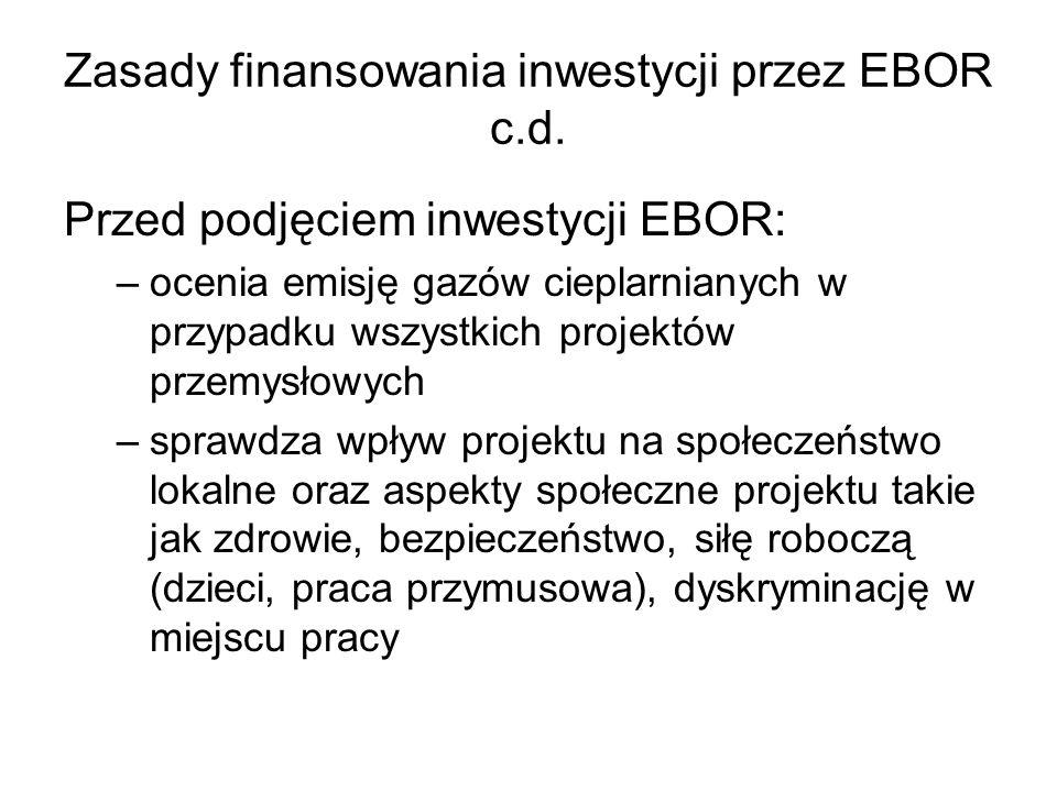 Zasady finansowania inwestycji przez EBOR c.d. Przed podjęciem inwestycji EBOR: –ocenia emisję gazów cieplarnianych w przypadku wszystkich projektów p