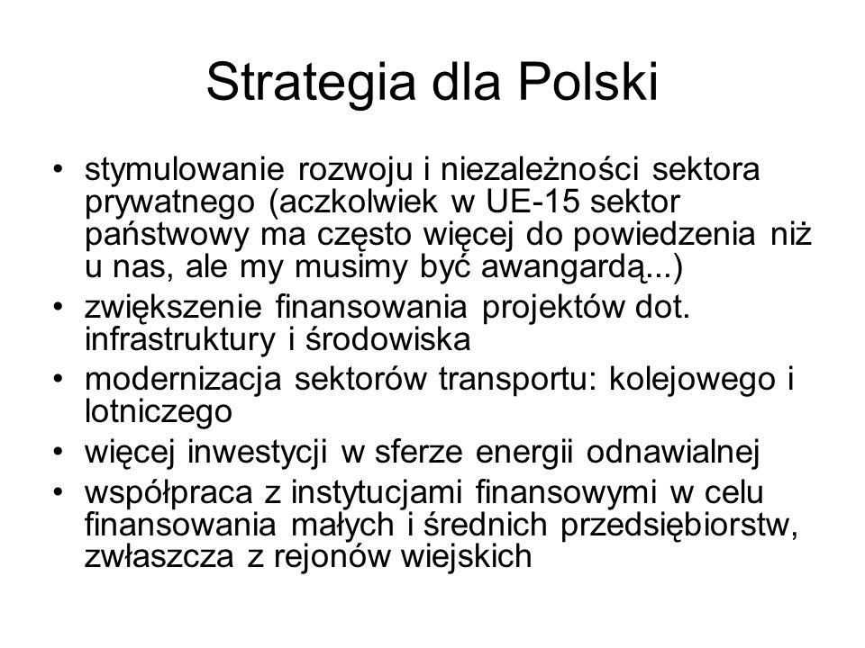 Strategia dla Polski stymulowanie rozwoju i niezależności sektora prywatnego (aczkolwiek w UE-15 sektor państwowy ma często więcej do powiedzenia niż