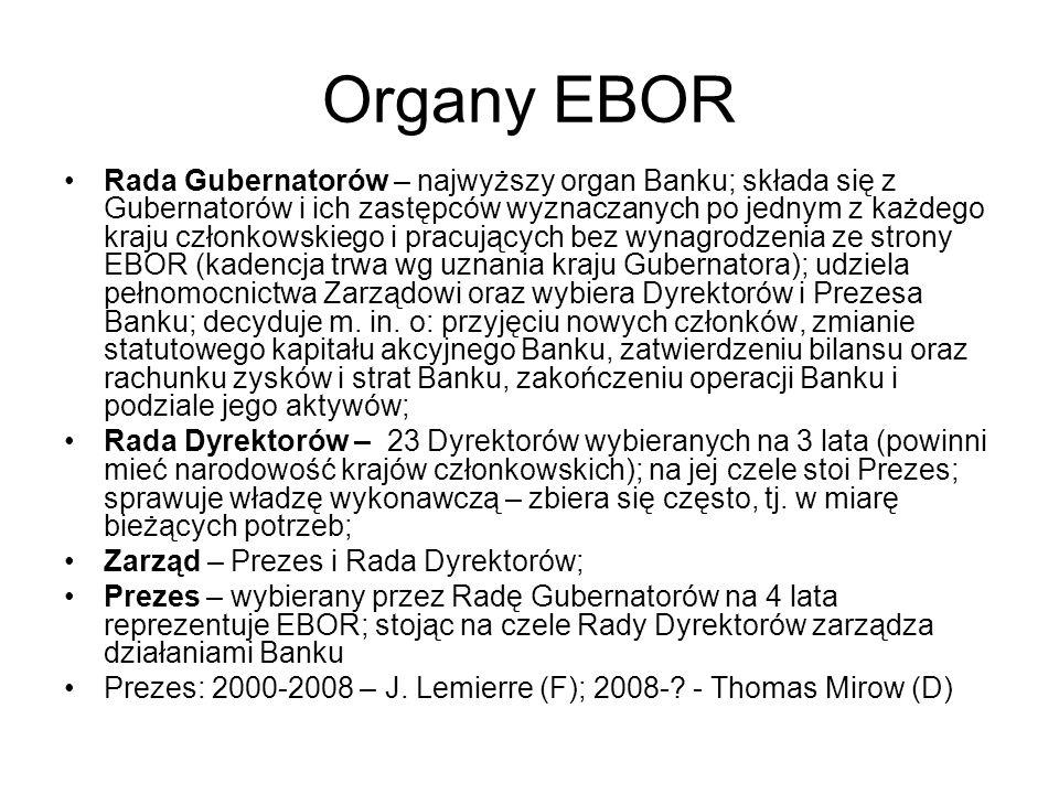 Organy EBOR Rada Gubernatorów – najwyższy organ Banku; składa się z Gubernatorów i ich zastępców wyznaczanych po jednym z każdego kraju członkowskiego