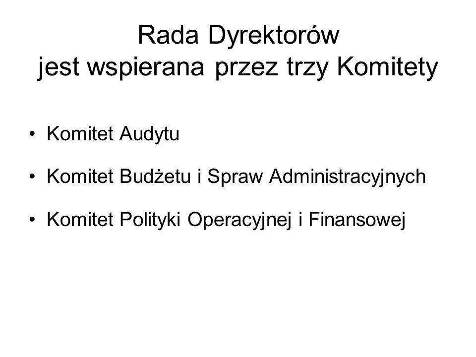 Rada Dyrektorów jest wspierana przez trzy Komitety Komitet Audytu Komitet Budżetu i Spraw Administracyjnych Komitet Polityki Operacyjnej i Finansowej