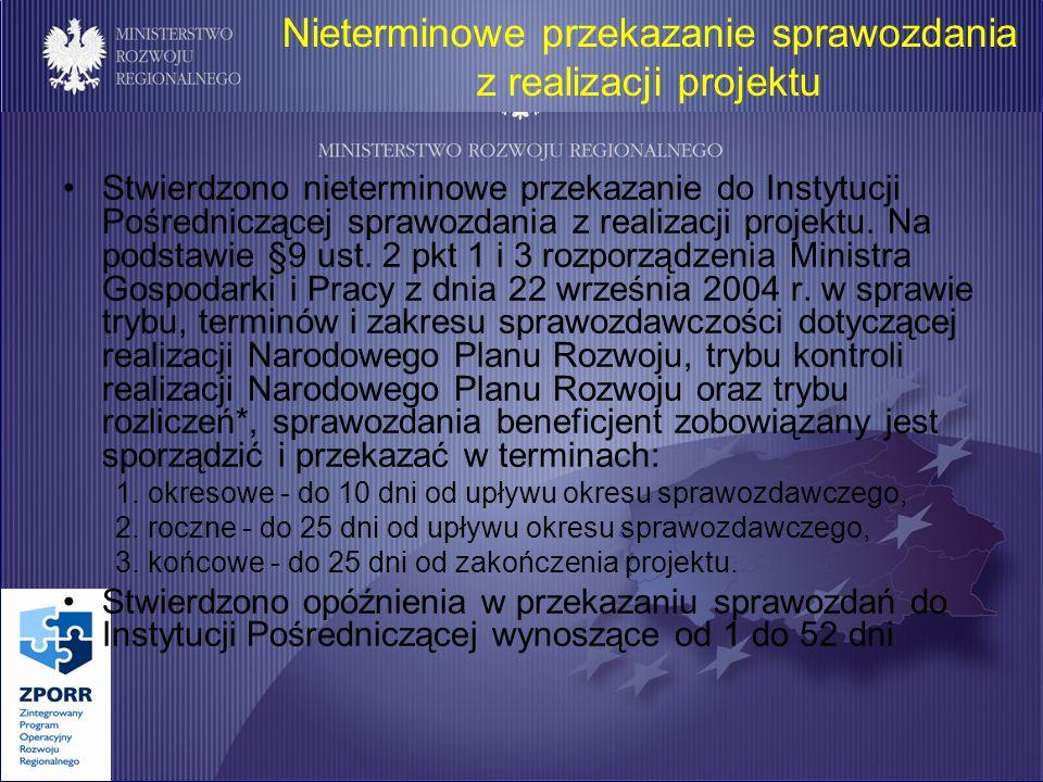 Nieterminowe przekazanie sprawozdania z realizacji projektu Stwierdzono nieterminowe przekazanie do Instytucji Pośredniczącej sprawozdania z realizacji projektu.