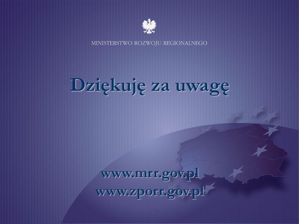 www.mrr.gov.pl www.zporr.gov.pl Dziękuję za uwagę