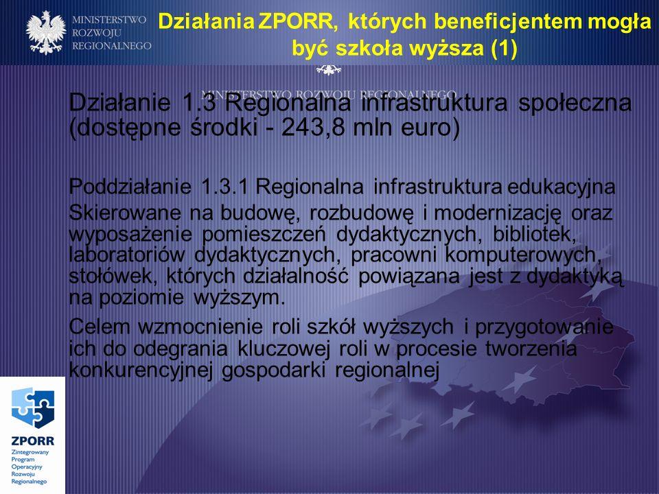 Działanie 1.3 Regionalna infrastruktura społeczna (dostępne środki - 243,8 mln euro) Poddziałanie 1.3.1 Regionalna infrastruktura edukacyjna Skierowane na budowę, rozbudowę i modernizację oraz wyposażenie pomieszczeń dydaktycznych, bibliotek, laboratoriów dydaktycznych, pracowni komputerowych, stołówek, których działalność powiązana jest z dydaktyką na poziomie wyższym.