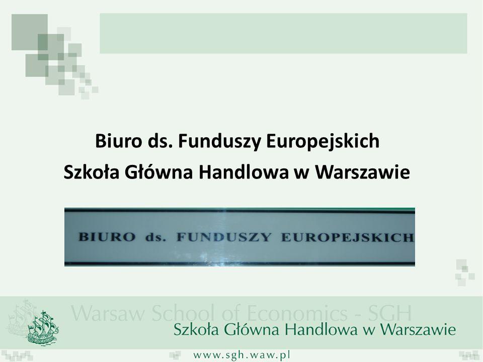 Biuro ds. Funduszy Europejskich Szkoła Główna Handlowa w Warszawie
