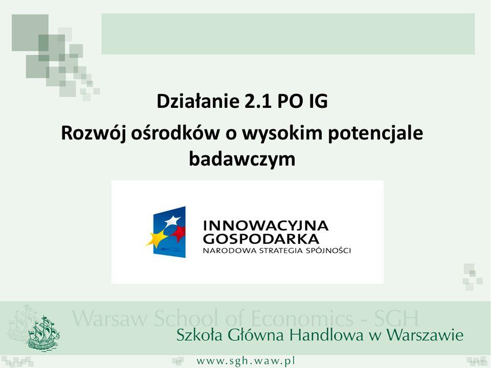 Działanie 2.1 PO IG Rozwój ośrodków o wysokim potencjale badawczym