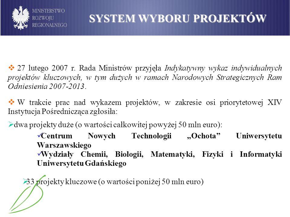27 lutego 2007 r. Rada Ministrów przyjęła Indykatywny wykaz indywidualnych projektów kluczowych, w tym dużych w ramach Narodowych Strategicznych Ram O