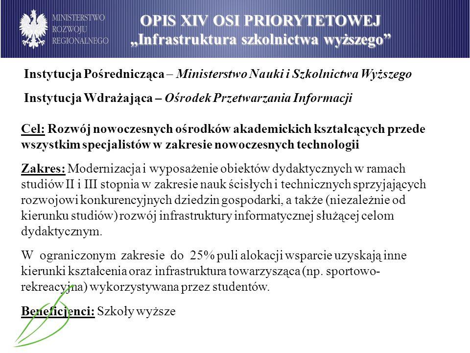 Instytucja Pośrednicząca – Ministerstwo Nauki i Szkolnictwa Wyższego Instytucja Wdrażająca – Ośrodek Przetwarzania Informacji Cel: Rozwój nowoczesnych