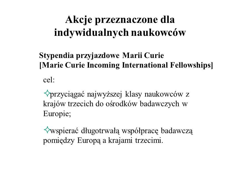 Stypendia wyjazdowe Marii Curie [Marie Curie Outgoing International Fellowships] dla naukowców z krajów UE i stowarzyszonych wyjeżdżających na staże do uznanych centrów badawczych w krajach trzecich (pozaeuropejskich); dwufazowy program badawczy (wymóg badania za granicą i w Europie).