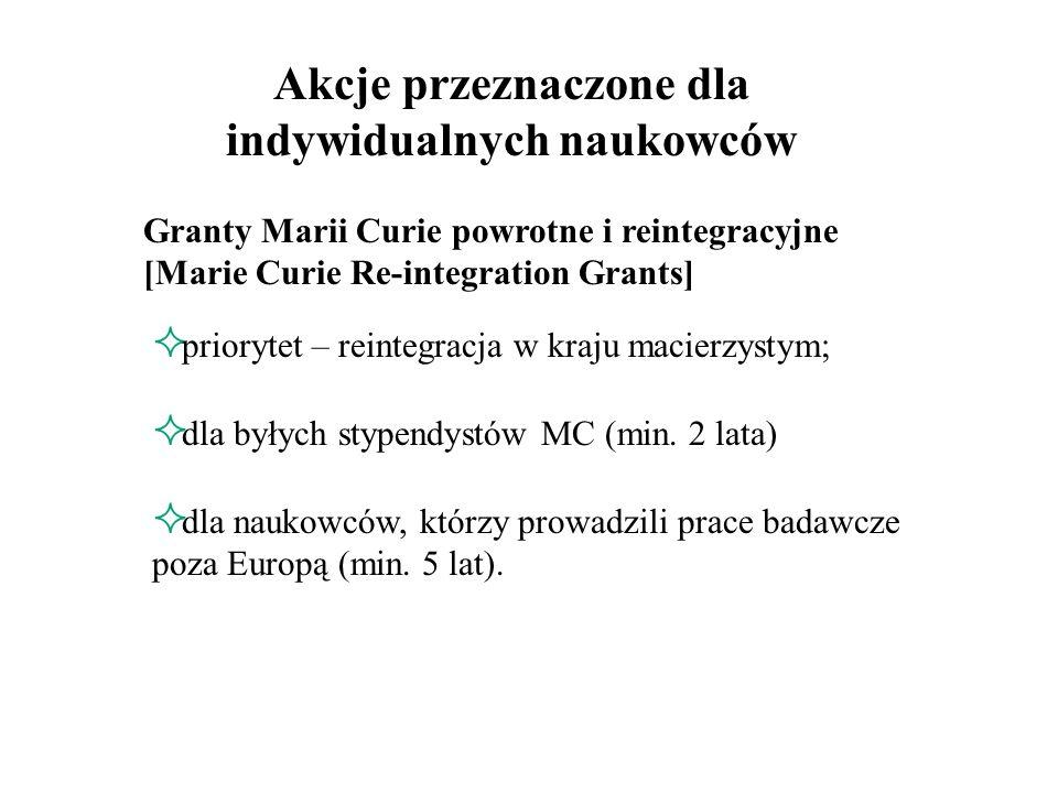 Stypendia przyjazdowe Marii Curie [Marie Curie Incoming International Fellowships] cel: przyciągać najwyższej klasy naukowców z krajów trzecich do ośrodków badawczych w Europie; wspierać długotrwałą współpracę badawczą pomiędzy Europą a krajami trzecimi.