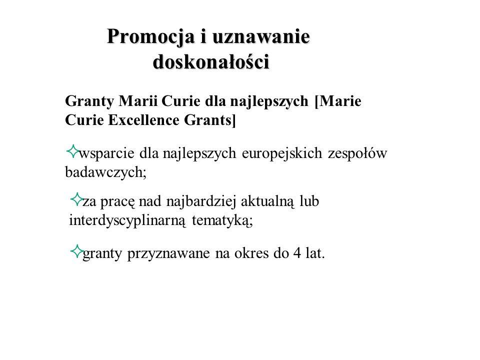 granty, nagrody służące promowaniu, nagradzaniu europejskich zespołów badawczych; promowanie najnowszych obszarów badań i indywidualnych osiągnięć europejskich uczonych Promocja i uznawanie doskonałości