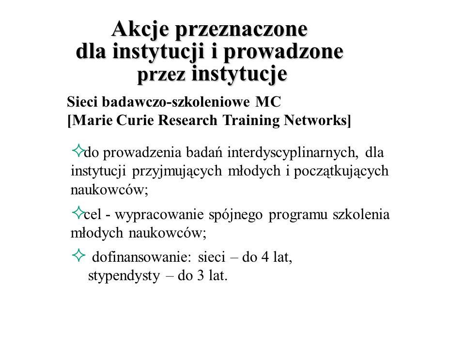 Akcje przeznaczone dla instytucji i prowadzone przez instytucje wsparcie: instytutów badawczych i przedsiębiorstw; sieci badawczo-szkoleniowych; w realizowaniu programów szkoleń i staży naukowych.