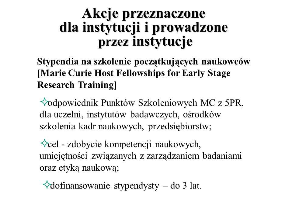 Nagrody Marii Curie dla najlepszych [Marie Curie Excellence Awards] dla najlepszych badaczy, którzy korzystali wcześniej ze wsparcia finansowego Wspólnoty; Promocja i uznawanie doskonałości nagroda – na własny rozwój zawodowy.