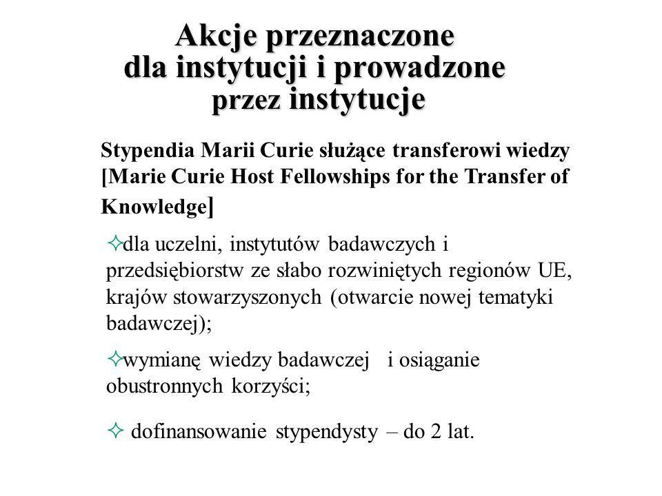 Promocja i uznawanie doskonałości Katedry Marii Curie, [Marie Curie Chairs] powoływanie najlepszych naukowców na stanowiska wykładowców w najistotniejszych dla UE - dziedzinach; mają przyciągać również uczonych, którzy opuścili Europę; przyznawane na 3 lata.
