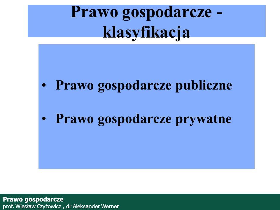 Prawo gospodarcze prof. Wiesław Czyżowicz, dr Aleksander Werner Prawo gospodarcze - klasyfikacja Prawo gospodarcze publiczne Prawo gospodarcze prywatn
