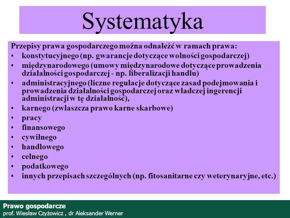 Prof. Wiesław Czyżowicz, dr Aleksannder Werner Systematyka Przepisy prawa gospodarczego można odnaleźć w ramach prawa: konstytucyjnego (np. gwarancje