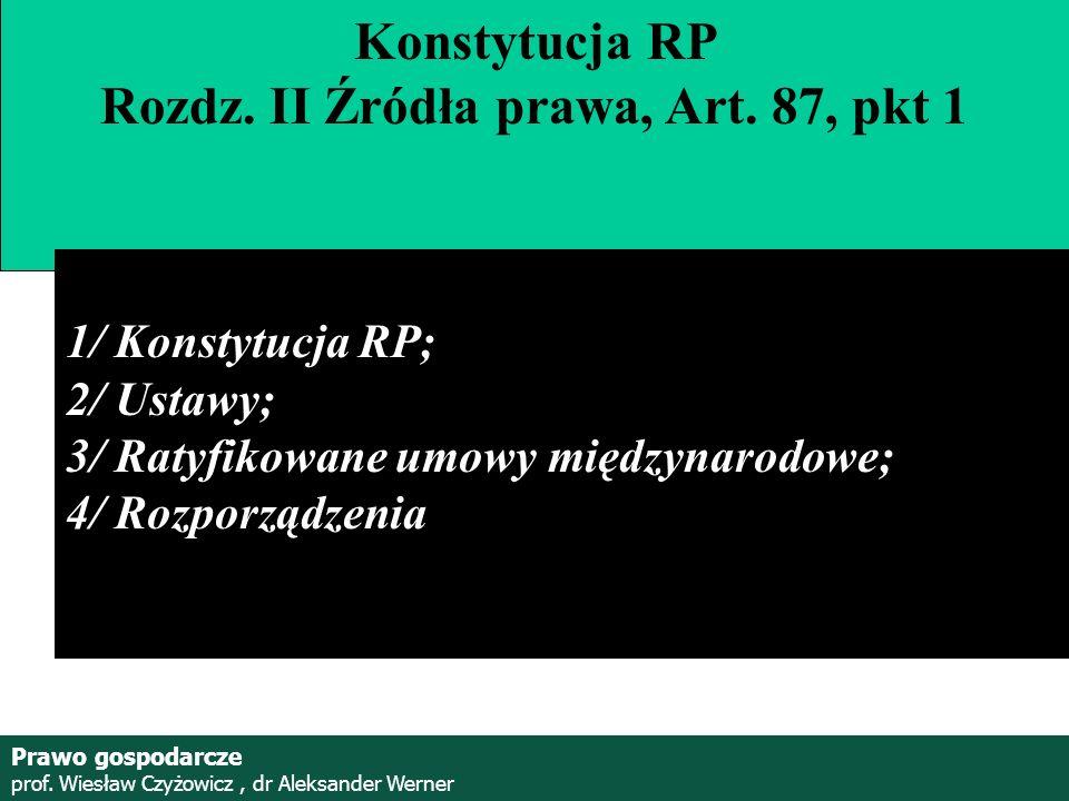 Prof. Wiesław Czyżowicz, dr Aleksannder Werner Konstytucja RP Rozdz. II Źródła prawa, Art. 87, pkt 1 1/ Konstytucja RP; 2/ Ustawy; 3/ Ratyfikowane umo