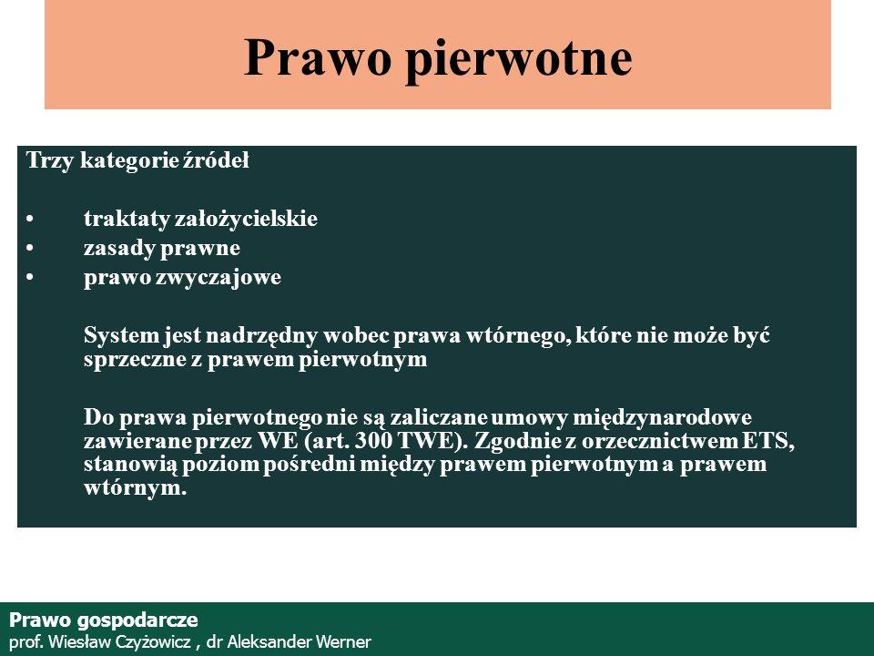 Prof. Wiesław Czyżowicz, dr Aleksannder Werner Prawo pierwotne Trzy kategorie źródeł traktaty założycielskie zasady prawne prawo zwyczajowe System jes
