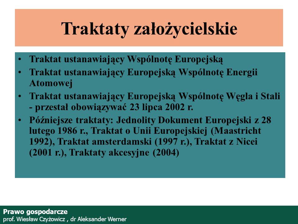 Prof. Wiesław Czyżowicz, dr Aleksannder Werner Traktaty założycielskie Traktat ustanawiający Wspólnotę Europejską Traktat ustanawiający Europejską Wsp