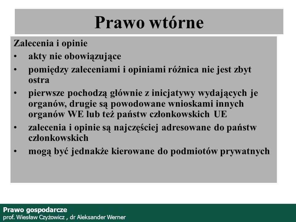 Prof. Wiesław Czyżowicz, dr Aleksannder Werner Zalecenia i opinie akty nie obowiązujące pomiędzy zaleceniami i opiniami różnica nie jest zbyt ostra pi