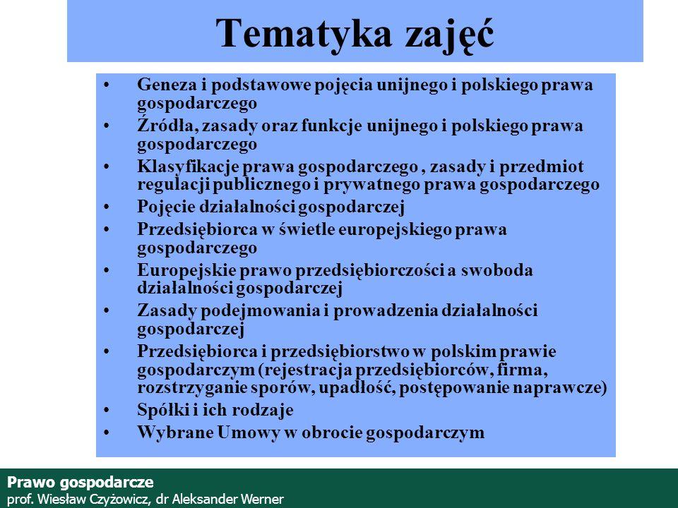 Prawo gospodarcze prof. Wiesław Czyżowicz, dr Aleksander Werner Zaliczenie zajęć Egzamin testowy