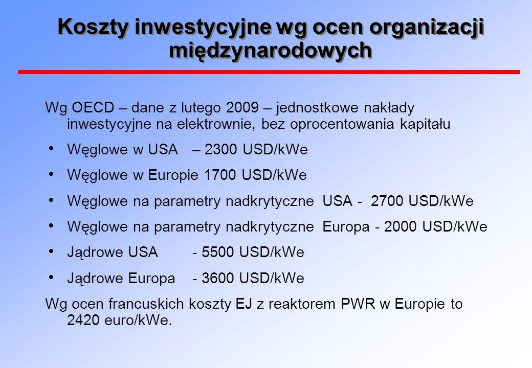 Koszty inwestycyjne wg ocen organizacji międzynarodowych Wg OECD – dane z lutego 2009 – jednostkowe nakłady inwestycyjne na elektrownie, bez oprocento