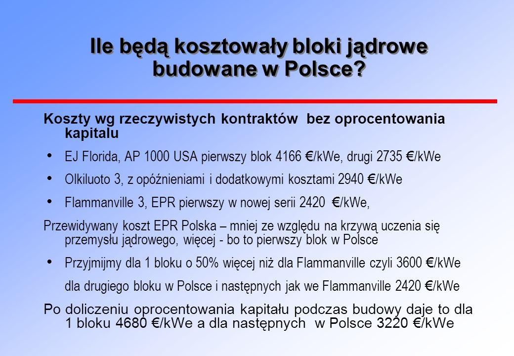 Ile będą kosztowały bloki jądrowe budowane w Polsce? Koszty wg rzeczywistych kontraktów bez oprocentowania kapitalu EJ Florida, AP 1000 USA pierwszy b