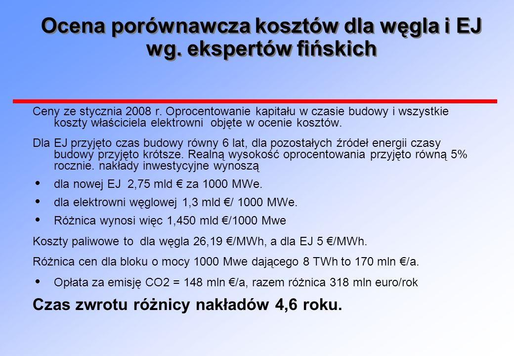 Ocena porównawcza kosztów dla węgla i EJ wg. ekspertów fińskich Ceny ze stycznia 2008 r. Oprocentowanie kapitału w czasie budowy i wszystkie koszty wł