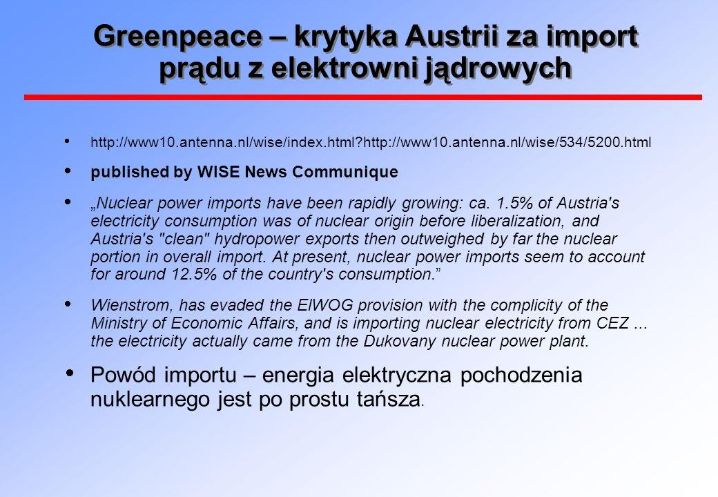 Greenpeace – krytyka Austrii za import prądu z elektrowni jądrowych http://www10.antenna.nl/wise/index.html?http://www10.antenna.nl/wise/534/5200.html