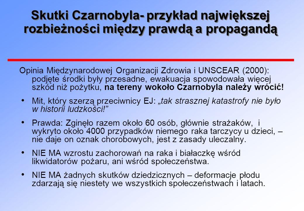 Skutki Czarnobyla- przykład największej rozbieżności między prawdą a propagandą Opinia Międzynarodowej Organizacji Zdrowia i UNSCEAR (2000): podjęte ś