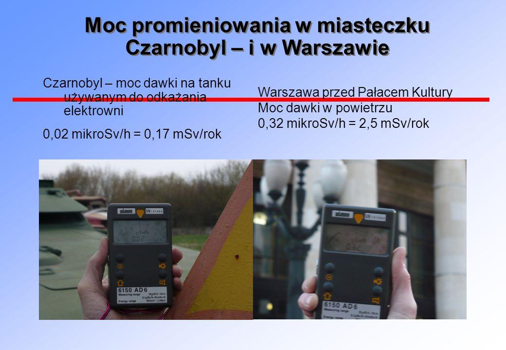 Moc promieniowania w miasteczku Czarnobyl – i w Warszawie Czarnobyl – moc dawki na tanku używanym do odkażania elektrowni 0,02 mikroSv/h = 0,17 mSv/ro