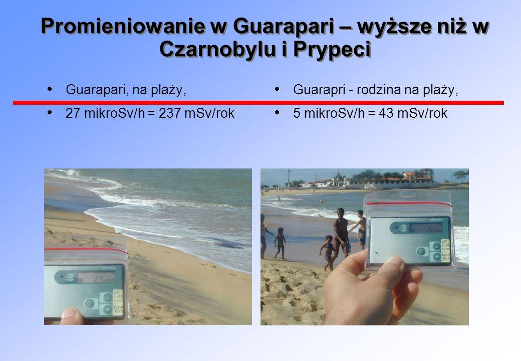 Promieniowanie w Guarapari – wyższe niż w Czarnobylu i Prypeci Guarapari, na plaży, 27 mikroSv/h = 237 mSv/rok Guarapri - rodzina na plaży, 5 mikroSv/