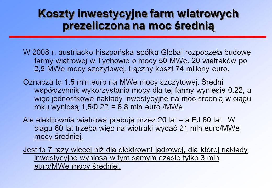 Koszty inwestycyjne farm wiatrowych prezeliczona na moc średnią W 2008 r. austriacko-hiszpańska spółka Global rozpoczęła budowę farmy wiatrowej w Tych