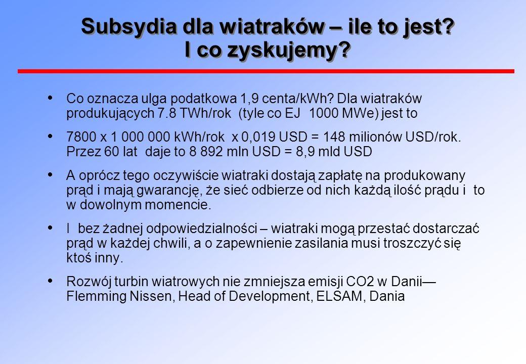 Subsydia dla wiatraków – ile to jest? I co zyskujemy? Co oznacza ulga podatkowa 1,9 centa/kWh? Dla wiatraków produkujących 7.8 TWh/rok (tyle co EJ 100