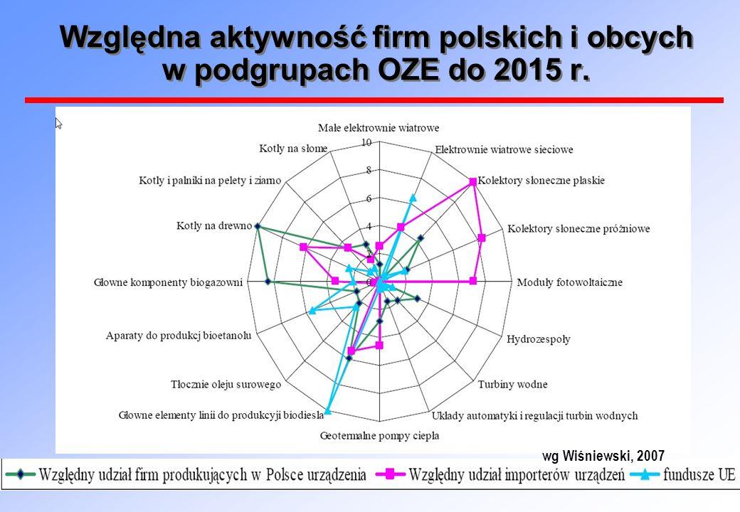 Względna aktywność firm polskich i obcych w podgrupach OZE do 2015 r. wg Wiśniewski, 2007