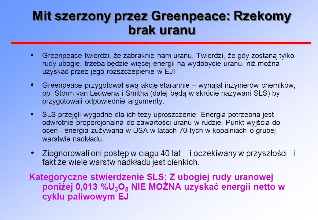 Mit szerzony przez Greenpeace: Rzekomy brak uranu Greenpeace twierdzi, że zabraknie nam uranu. Twierdzi, że gdy zostaną tylko rudy ubogie, trzeba będz