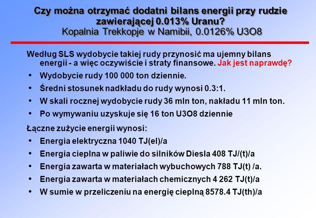 Czy można otrzymać dodatni bilans energii przy rudzie zawierającej 0.013% Uranu? Kopalnia Trekkopje w Namibii, 0.0126% U3O8 Według SLS wydobycie takie