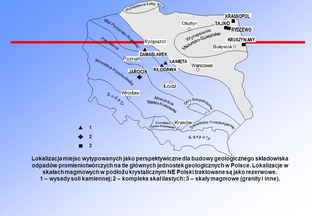 1 2 3 Lokalizacja miejsc wytypowanych jako perspektywiczne dla budowy geologicznego składowiska odpadów promieniotwórczych na tle głównych jednostek g
