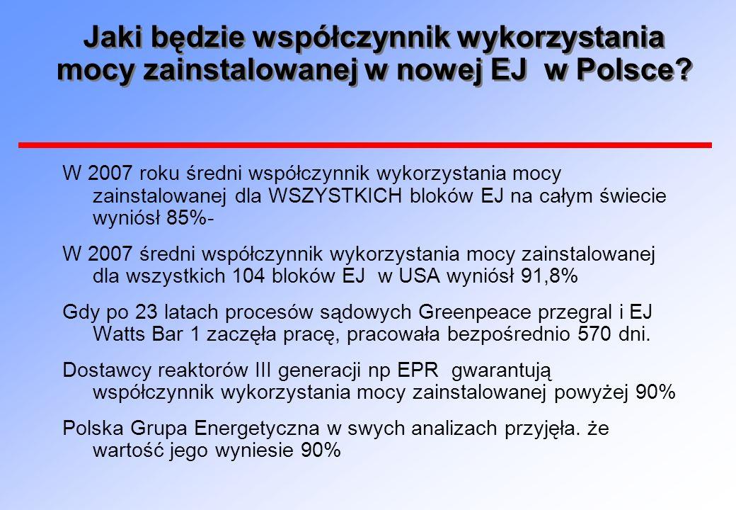 Jaki będzie współczynnik wykorzystania mocy zainstalowanej w nowej EJ w Polsce? W 2007 roku średni współczynnik wykorzystania mocy zainstalowanej dla