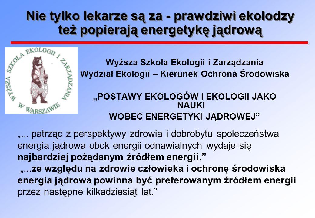 Nie tylko lekarze są za - prawdziwi ekolodzy też popierają energetykę jądrową Wyższa Szkoła Ekologii i Zarządzania Wydział Ekologii – Kierunek Ochrona