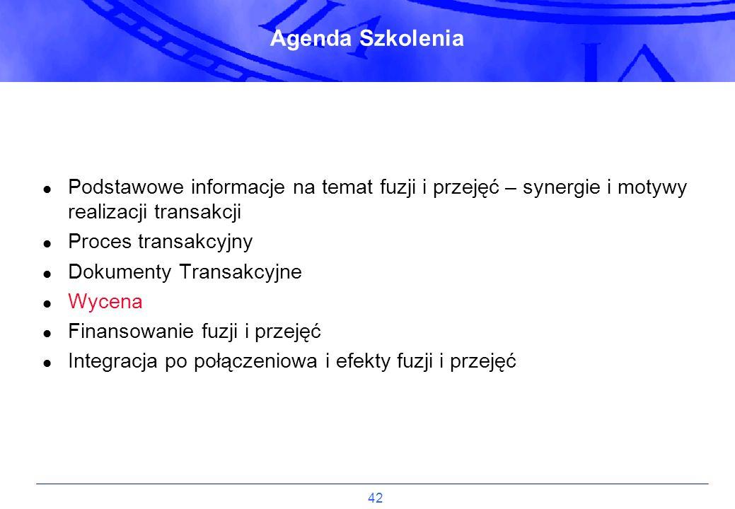 42 Agenda Szkolenia Podstawowe informacje na temat fuzji i przejęć – synergie i motywy realizacji transakcji Proces transakcyjny Dokumenty Transakcyjn