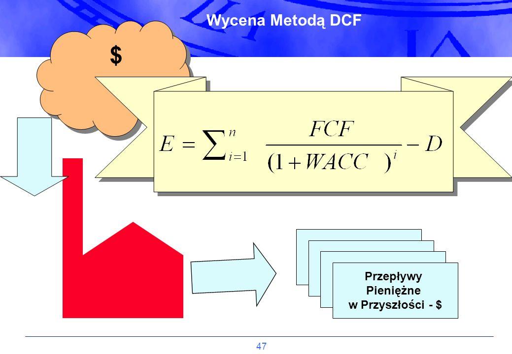 47 Przepływy Pieniężne w Przyszłości - $ $ $ Wycena Metodą DCF