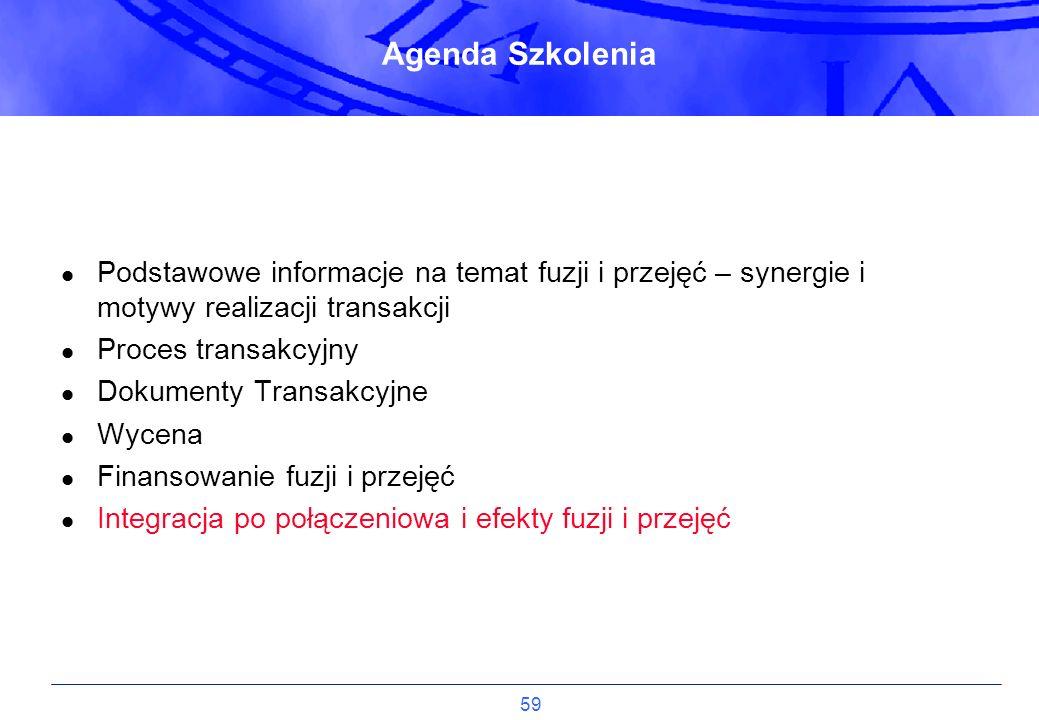 59 Agenda Szkolenia Podstawowe informacje na temat fuzji i przejęć – synergie i motywy realizacji transakcji Proces transakcyjny Dokumenty Transakcyjn