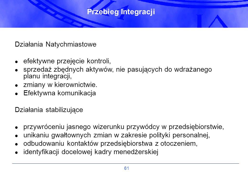 61 Działania Natychmiastowe efektywne przejęcie kontroli, sprzedaż zbędnych aktywów, nie pasujących do wdrażanego planu integracji, zmiany w kierownic