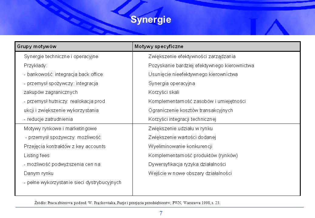 7 Źródło: Praca zbiorowa pod red. W. Frąckowiaka, Fuzje i przejęcia przedsiębiorstw, PWN, Warszawa 1998, s. 23. Synergie