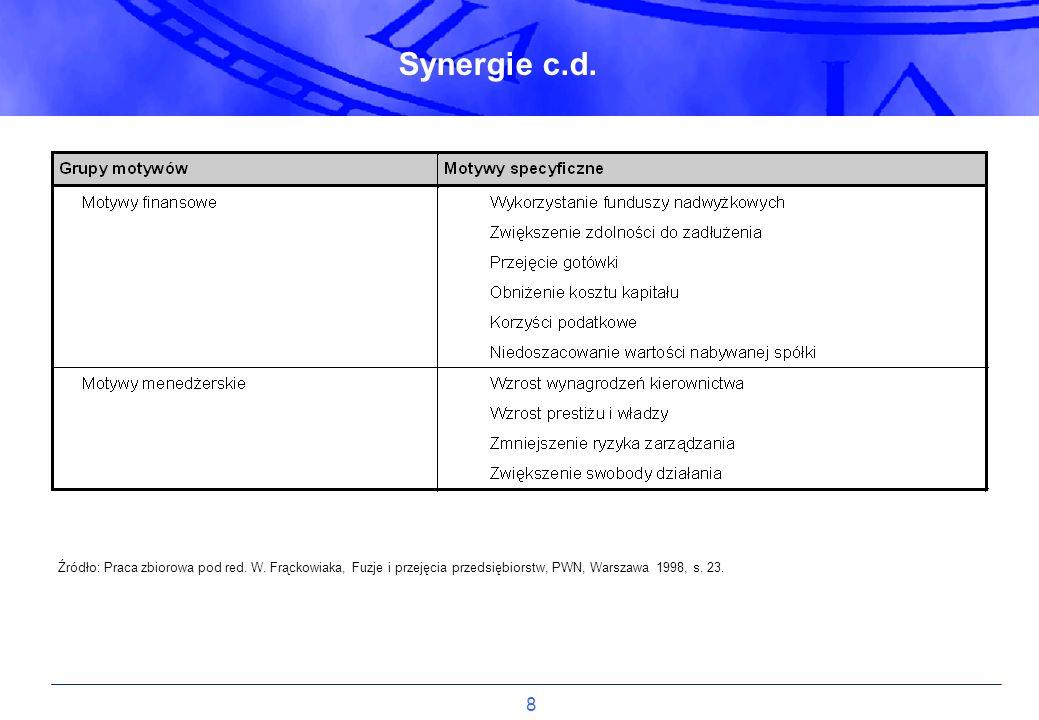 8 Źródło: Praca zbiorowa pod red. W. Frąckowiaka, Fuzje i przejęcia przedsiębiorstw, PWN, Warszawa 1998, s. 23. Synergie c.d.