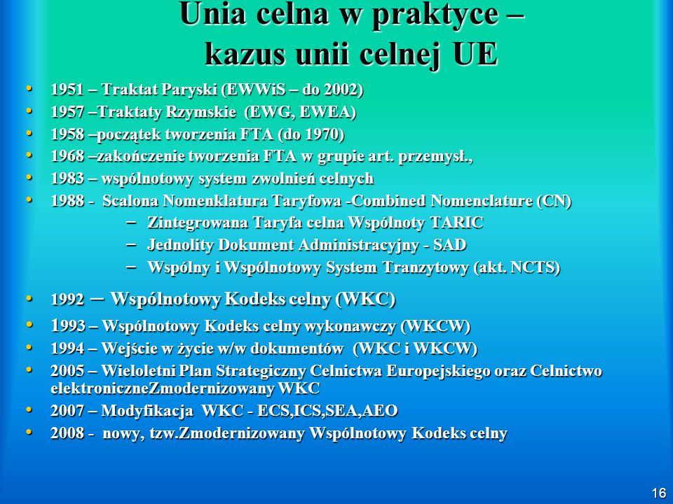16 Unia celna w praktyce – kazus unii celnej UE 1951 – Traktat Paryski (EWWiS – do 2002) 1951 – Traktat Paryski (EWWiS – do 2002) 1957 –Traktaty Rzyms