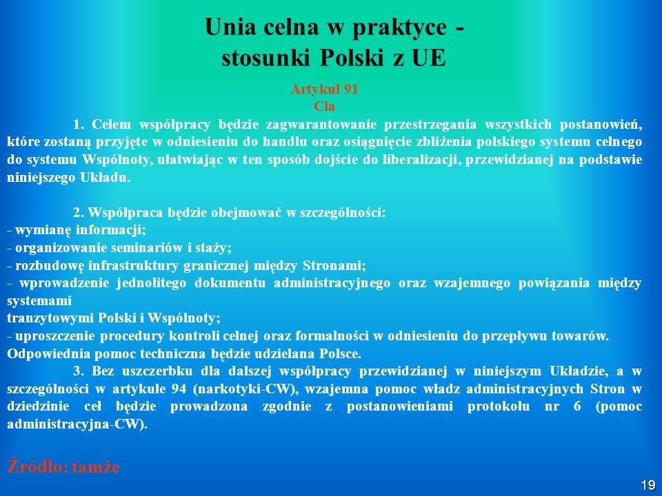19 Unia celna w praktyce - stosunki Polski z UE Artykuł 91 Cła 1. Celem współpracy będzie zagwarantowanie przestrzegania wszystkich postanowień, które