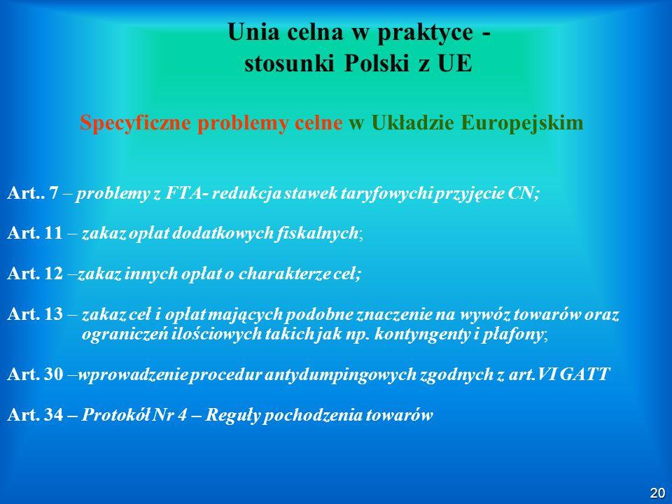 20 Specyficzne problemy celne w Układzie Europejskim Art.. 7 – problemy z FTA- redukcja stawek taryfowychi przyjęcie CN; Art. 11 – zakaz opłat dodatko