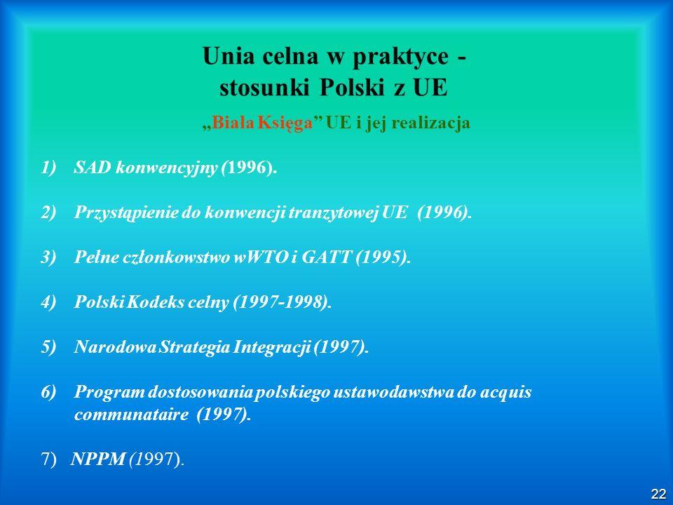 22 Unia celna w praktyce - stosunki Polski z UE Biała Księga UE i jej realizacja 1) 1)SAD konwencyjny (1996). 2) 2)Przystąpienie do konwencji tranzyto